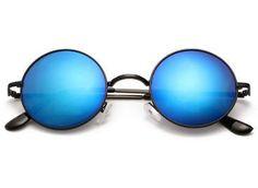 Pánské sluneční brýle - lenonky, modro černé Round Sunglasses, Mirrored Sunglasses, Fashion, Moda, Round Frame Sunglasses, Fashion Styles, Fashion Illustrations