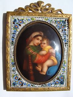 Antique Micro Mosaic frame with miniature painted on porcelain, 19th century