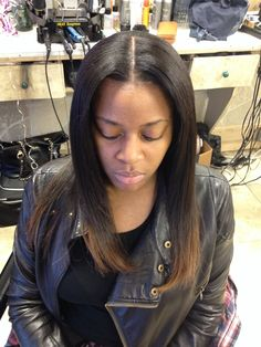Middle part sew in with a flat foundation flawless hair sew in full sew in weave w middle part leave out pmusecretfo Images