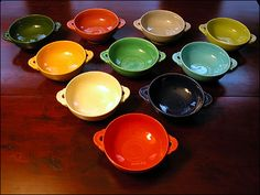 Fiesta Cream Soup Bowls   Red: 85  Cobalt: 75  Ivory: 75  Turquoise: 75  Yellow: 75  Green: 75    Chartreuse: 85  Rose: 75  Grey: 75  Forest Green: 85  Medium Green*: 4000+  *very rare in Medium Green