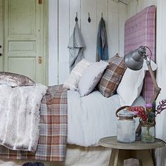 Country bedroom with plaid headboard | Bedroom decorating | Country Homes and Interiors | Housetohome.co.uk
