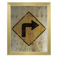 Click Wall Art 'Right Turn Only Weathered' Framed Graphic Art on Canvas