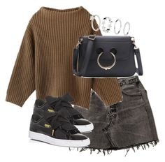 A fashion look from January 2017 featuring brown shirts, high-waisted skirt and puma sneakers. Browse and shop related looks. Fall Fashion Skirts, Office Outfits, Cute Outfits, Womens Fashion, Polyvore, How To Wear, Scrapbook, Clothes, Future