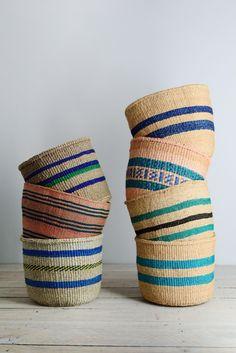 Kenyan basket: Blue Collection. Fair trade, hand woven baskets from Decorator's Notebook.