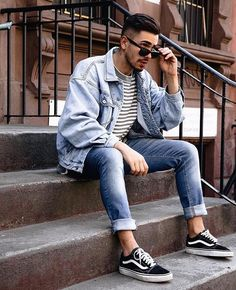 Image may contain: one or more people, people sitting, shoes, stripes and outdoor Vans Outfit Men, Daily Fashion, Mens Fashion, Best Photo Poses, Fashion Model Poses, Denim Shirt Men, Casual Outfits, Fashion Outfits, Photography Poses For Men