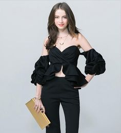 cfd8a90b3e8 TWOTWINSTYLE 2017 Summer Women Off Shoulder Tops Blouse Shirts Strapless  Backless Puff Sleeve Ruffle Peplum Sexy
