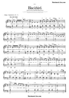 Blackbird Sheet Music Beatles Piano Sheet Music Free pdf Download