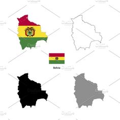 Bolivia country silhouettes Graphics Bolivia country black silhouette and with flag on background, isolated on white by Evgeniy