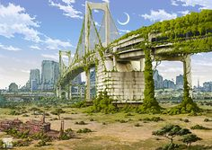 Rainbow Bridge in Stunning Post Apocalypse Artworks