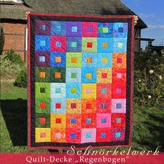 """Quilt-Decke, Patchwork-Decke """"Regenbogen"""" von Lealani / Schnörkelwerk auf DaWanda.com"""