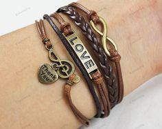 bronze Bracelets infinite love music bracelets by lifesunshine, $6.99