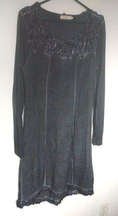 Luxury boho CREAM knit dress tunic flowers metal studs hippie blue Med Large #Cream #BlouseTuniclengthdress
