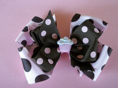 Toddler Hair Bow, Pink and Brown and Brown  and Pink, with Cupcake, Double Hair Bow. $5.50, via Etsy.