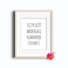 0-9 And A-Z Collection - Letter Collection -  Number Collection -  School Art - Letters & Numbers - Black And White Poster- Instant Download