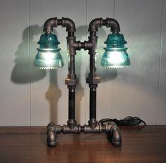Twin Column Glass Insulator Dual Light Desk Lamp Retro-Industrial Styling. $199.99, via Etsy.