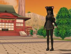 Anime Cat Girl     anime, manga, cartoon, cute, catgirl, pretty, shrine, trees, sunset, colors, cat, 3dart, fantasy, landscape, scenery, dusk, fluffy