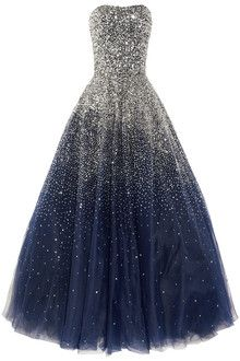Marchesa Sequined Strapless Silk Tulle Gown in Blue