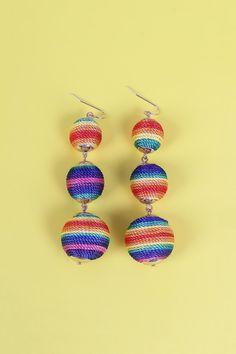 Rainbow Triple Ball Earrings