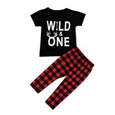 2pcs Baby Boys Girls Outfit, Buedvo Wild&One Print Short ...