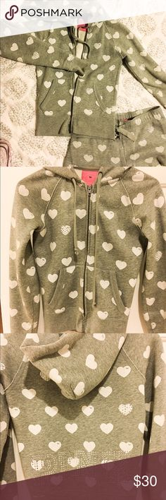 Victoria's Secret PINK grey jacket& short pants Victoria's Secret PINK grey color jacket and short pants, hearts & line stone details so cute, worn and loved, still lots of life! Victoria's Secret Jackets & Coats