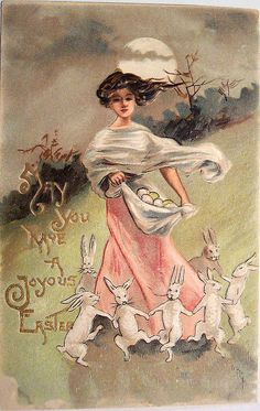 Vintage Easter Postcard - It's kind of eerie, but it's REALLY cool. Vintage stuff just rocks. :) I love the colors. Especially on the girl.