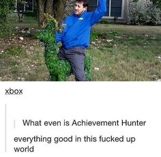 Geoff riding a deer bush, achievement hunter is everything good in this fucked up world