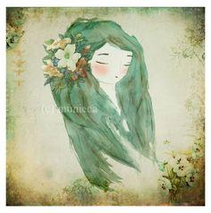 Chica Flor - serie Chicas de la Naturaleza / munieca - Artesanio