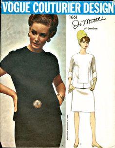 Vintage Vogue Couturier  - Jo Matti of London -  ELEGANT Design Two Piece Dress Pattern 1661  - Bust 36 via Etsy