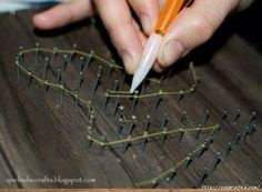 """Good to know for when I make my cross wall decoration. SUPER idea for string art.pull the """"guts"""" out of a mechanical pencil, chip a little hole in the side to feed the string through.makes going around the nails so much easier! String Wall Art, Nail String Art, String Crafts, Diy Wall Art, Diy Art, Wall Decor, Diy Projects To Try, Crafts To Do, Art Projects"""