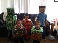 For Halloween this year my oldest son wanted to be Steve from the game MineCraft. A few weeks ago I barely even knew what MineCraft was, but. Steve Minecraft, Creeper Minecraft, Minecraft Baby, Minecraft Crafts, Minecraft Stuff, Mine Craft Party, Halloween Dress Up Ideas, Halloween Diy, Halloween Costumes