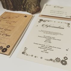 Woodland invitation sets, real wood invitations by www.batemandesigns.co.uk