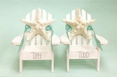 Weddbook is a content discovery engine mostly specialized on wedding concept. You can collect images, videos or articles you discovered organize them, add your own ideas to your collections and share with other people | 2 Miniature Adirondack Chairs with Natural Starfish for a Wedding Cake Topper or Decoration. Perfect for a beach-inspired wedding or shower. Absolutely adorable and customized just for you! Chair Colors: Natural, Aqua, White, Island Blue, Coral, and Dark Blue or a combi...