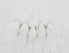 7 mm Hoops for 2 Side by Side Ear Piercings in Argentium Sterling Silver. Double Helix. Double Cartilage Hoop - Phoenix Mountain Creations