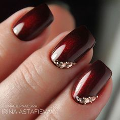 Nail designs Mani With Cat Eye Effect ❤ Fantastic Burgundy Nails For Super Stylish Ladies ❤ See Burgundy Nail Designs, Burgundy Nails, Red Nails, Jewel Nails, Fancy Nails, Cute Nails, Pretty Nails, Wedding Nails Design, Wedding Designs