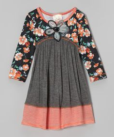 Take a look at this Charcoal & Orange Floral Dress - Girls by Pink Vanilla on #zulily today!