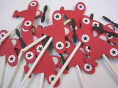 SALE12 red air plane cupcake toppers by papermefancy on Etsy