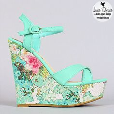 Spring Fashion, Shoes, Floral Frenzy Wedges, by Jane Divine Boutique www.janedivine.com