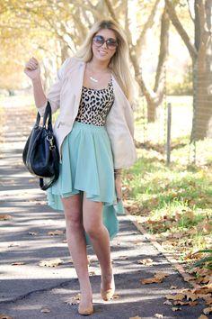 Leopard, mint skirt, studded bag