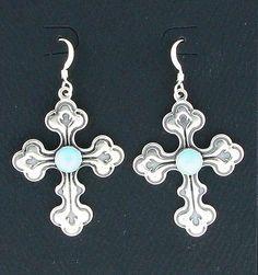 Sterling Silver & Turquoise Cross Dangle Earrings #DropDangle