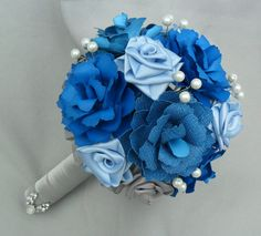 Bride or bridesmaid bouquet made from handmade card stock roses and satin ribbon flowers