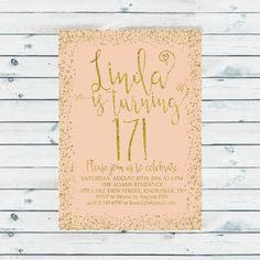17th birthday invitation Gold glitter confetti by CoolStudio