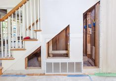 How To Add Storage Under Stairways even when there are in-wall obstacles! Easy to understand renovation and remodeling tips for more storage. Diy Projects Home Improvement, Under Stairs, Wall Storage, Diy Wood Projects, Stairways, Home Remodeling, Tips, Easy, Home Decor
