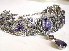 Gothic Choker Tanzanite Swarovski Crystal by LeBoudoirNoir on Etsy, €140.00