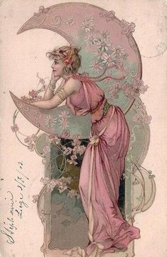 Woman with Moon | Art Noveau Postcard, 1903