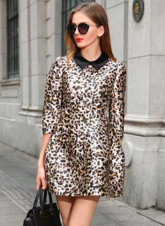 Leopard Contrast Lapel Flare Dress 30.33