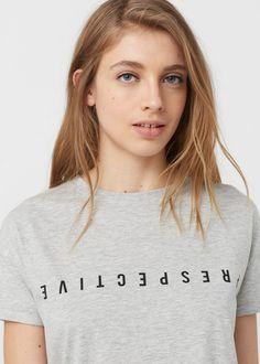 Camiseta algodón mensaje | MANGO