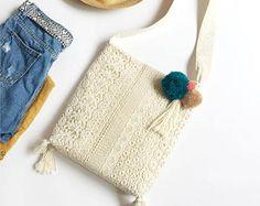 Fatto a mano cotone Shabby Chic Wedding Bag, borsa di pizzo, Cross Body Bag, borsa, moda stile, avorio/bianco, assicurarsi di ordinare, L135