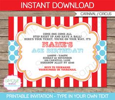 Instantly download my Carnival or Circus Invitation Template. Easily customize the template at home & print out as many Circus Invitations as you like.