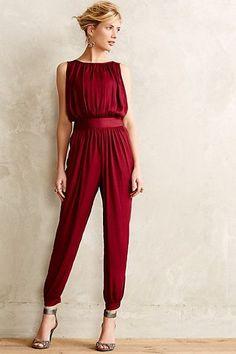 Women's fashion | Draped burgundy jumpsuit
