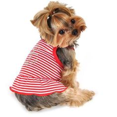 Simply Dog Red Striped Anchor Strappy Dress
